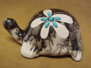Native American Pottery Turtle Sculpture by Vail! Navajo Horse Hair Sculpture Pot