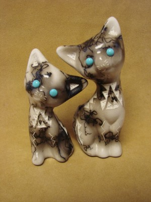 Native American Pottery Horse Hair Cat Set by Vail! Navajo Indian Sculpture