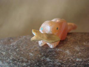 Zuni Indian Hand Carved Pink Jasper Otter and Fish by Justin Red Elk
