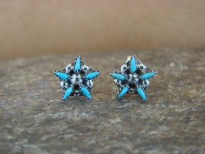 Native American Zuni Sterling Silver Turquoise Star  Post Earrings! Tsipa