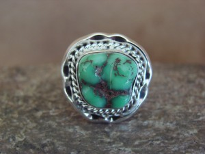 Native American Indian Jewelry Sterling Silver Variscite Ring, Size 7   S. Yellowhair
