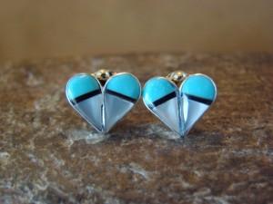 Zuni Indian Jewelry Sterling Silver Multistone Inlay Heart Post Earrings! by Niiha