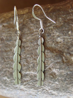 Native American Indian Jewelry Sterling Silver Feather Dangle Earrings - Marvin Arviso