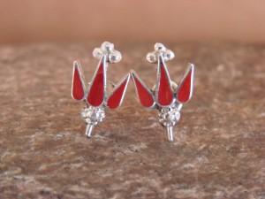 Native American Zuni Sterling Silver Coral Yucca Post Earrings! Arlen Quetawki