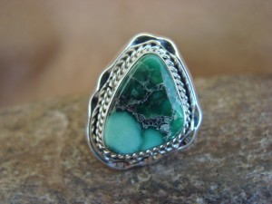 Native American Indian Jewelry Sterling Silver Variscite Ring, Size 8 1/2   S. Yellowhair