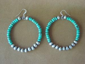 Navajo Hand Beaded Turquoise Sterling Silver Hoop Earrings by T. Yazzie
