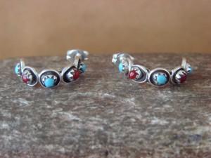 Zuni Indian Jewelry Sterling Silver Turquoise Coral  Hoop Earrings! Lonasee