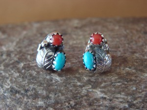 Native American Sterling Silver Turquoise Coral Post Earrings by Roselene Joe