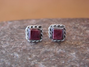 Native American Sterling Silver Square Purple Spiny Oyster Post Earrings by LeAnder Cachini