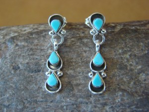 Native American Zuni Sterling Silver Turquoise Tear Drop Post Earrings! Handmade! Chavez