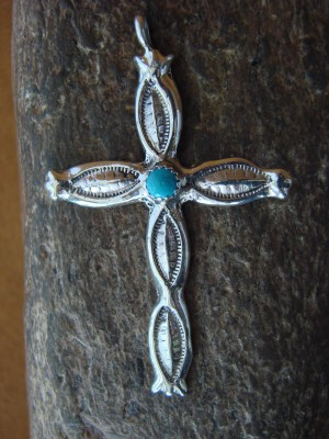 Navajo Indian Sterling Silver Hand Stamped Cross Turquoise Pendant by Johnson