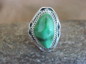 Native American Indian Jewelry Sterling Silver Variscite Ring, Size 9   S. Yellowhair