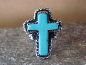 Native American Nickle Silver Turquoise Cross Ring Size 9 by Phoebe Tolta