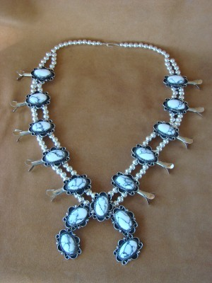 Native American Jewelry Howlite Squash Blossom Necklace by Jackie Cleveland