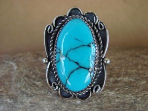 Navajo Indian Jewelry Nickel Silver Blue Turquoise Ring Size 9 1/2, Glen Nez