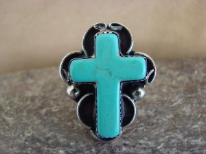 Native American Nickle Silver Turquoise Cross Ring Size 8 1/2 by Phoebe Tolta