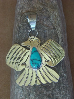 Native American Brass and Turquoise Eagle Pendant Bobby Cleveland