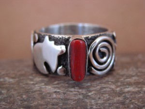 Native American Jewelry Sterling Silver Coral Ring by Alex Sanchez Size 10
