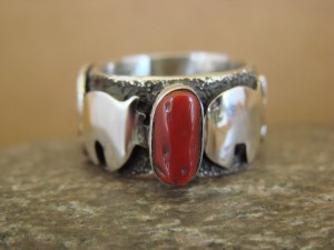 Native American Jewelry Sterling Silver Coral Ring by Alex Sanchez Size 5 1/2