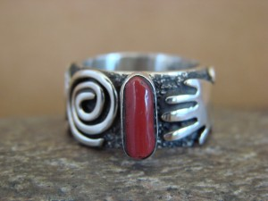 Native American Jewelry Sterling Silver Coral Ring by Alex Sanchez Size 7