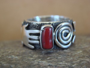 Native American Jewelry Sterling Silver Coral Ring by Alex Sanchez Size 8 1/2