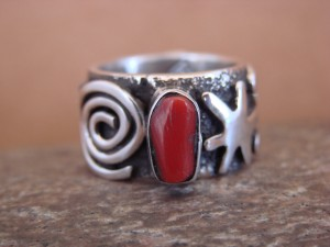 Native American Jewelry Sterling Silver Coral Ring by Alex Sanchez Size 5