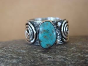 Native American Jewelry Sterling Silver Turquoise Ring by Alex Sanchez Size 9 1/2