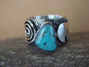 Native American Jewelry Sterling Silver Turquoise Ring by Alex Sanchez Size 8 1/2