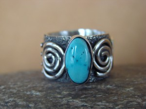 Native American Jewelry Sterling Silver Turquoise Ring by Alex Sanchez Size 6 1/2