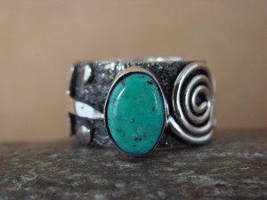 Native American Jewelry Sterling Silver Turquoise Ring by Alex Sanchez Size 9