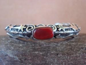 Navajo Indian Sterling Silver Coral Petroglyph Bracelet by Alex Sanchez!