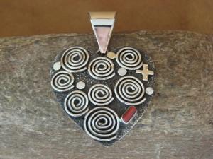 Large Navajo Indian Sterling Silver Coral Petroglyph Heart Pendant Alex Sanchez!