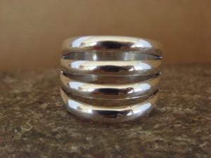 Navajo Indian Jewelry Sterling Silver Split Rib Ring Size 7 - James Bahe