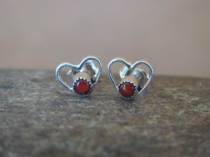 Small Zuni Indian Jewelry Sterling Silver Coral Heart Post Earrings!
