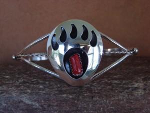 Navajo Indian Sterling Silver Coral Bear Paw Bracelet! Handmade