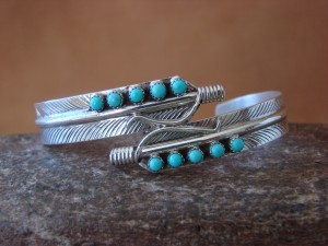 Navajo Indian Jewelry Turquoise Sterling Silver Feather Bracelet by Aaron Davis