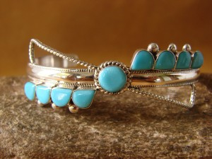 Zuni Indian Jewelry Sterling Silver Turquoise Row Bracelet! Ahivite