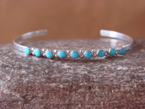 Zuni Indian Jewelry Petite Sterling Silver Turquoise Row Bracelet - Mary Leekity