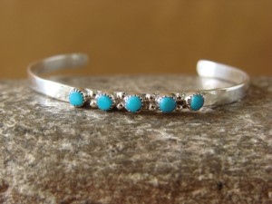 Zuni Indian Jewelry Petite Sterling Silver 5 Stone Turquoise Child's Bracelet - Mary Leekity