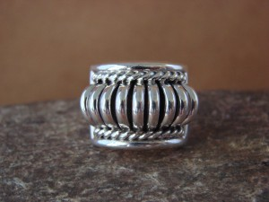 Native American Indian Jewelry Sterling Silver Ribbed Ring by Thomas Charley! Size 7 1/2