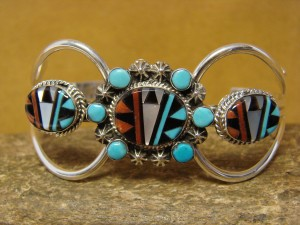 Navajo Indian Jewelry Sterling Silver Turquoise Inlay Bracelet