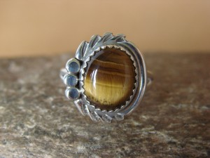 Navajo Indian Jewelry Sterling Silver Tiger Eye Ring Size 7 by Cadman LC2054