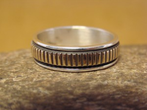 Native American Sterling Silver 14k Gold Ring Band, Size 12 by Bruce Morgan! C0210