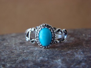 Native American Indian Jewelry Sterling Silver Turquoise Ring, Size 5 1/2 Largo
