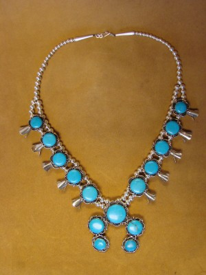 Native American Jewelry Turquoise Squash Blossom Necklace by Phoebe Tolta AC1- 74