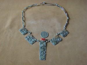 Native American Sterling Silver Coral Petroglyph Necklace by Alex Sanchez