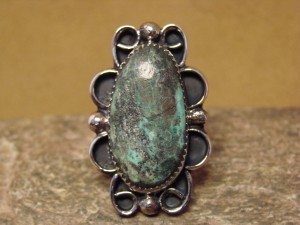 Navajo Indian Jewelry Nickel Silver Turquoise Ring Size 10 1/2, Jackie Cleveland