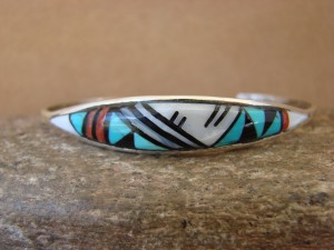 Zuni Indian Sterling Silver Turquoise, Coral, & Pearl Inlay Bracelet! QLB 4