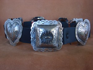 Native American Jewelry Hand Stamped Nickel Silver Concho Belt Carson Blackgoat BLT095