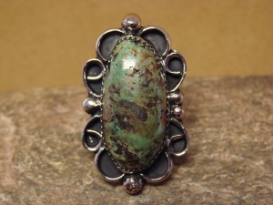 Navajo Indian Jewelry Nickel Silver Turquoise Ring Size 9 1/2, Jackie Cleveland